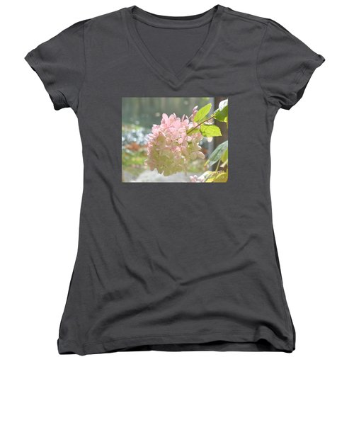 Pink Bloom In Sun Women's V-Neck T-Shirt