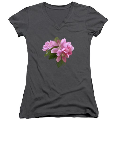 Pink Blossoms Women's V-Neck T-Shirt (Junior Cut) by Ivana Westin