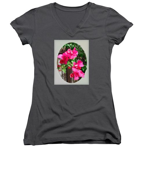 Pink Bougainvillea Women's V-Neck T-Shirt (Junior Cut) by Ginny Schmidt