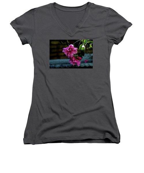 Pink Camellia Women's V-Neck T-Shirt