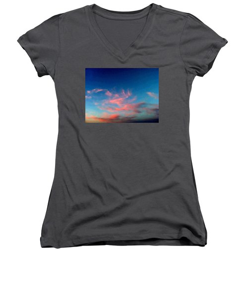 Women's V-Neck featuring the digital art Pink Clouds Abstract by Shelli Fitzpatrick