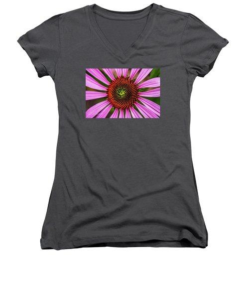 Women's V-Neck T-Shirt (Junior Cut) featuring the photograph Pink Cornflower by Joann Copeland-Paul