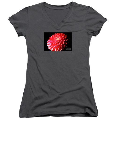 Pink Dahlia1 Women's V-Neck T-Shirt