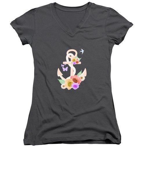 Pink Floral Anchor Women's V-Neck