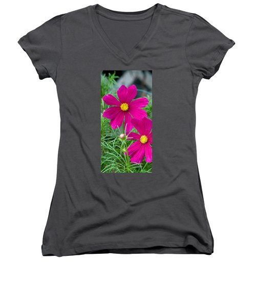Pink Flower Women's V-Neck (Athletic Fit)