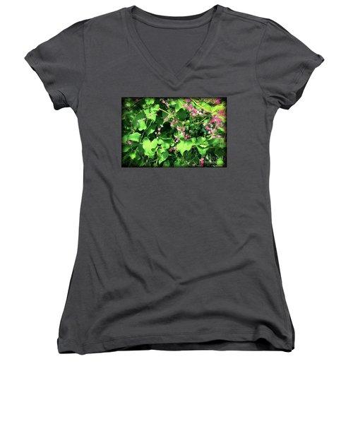 Women's V-Neck T-Shirt featuring the photograph Pink Flowering Vine2 by Megan Dirsa-DuBois