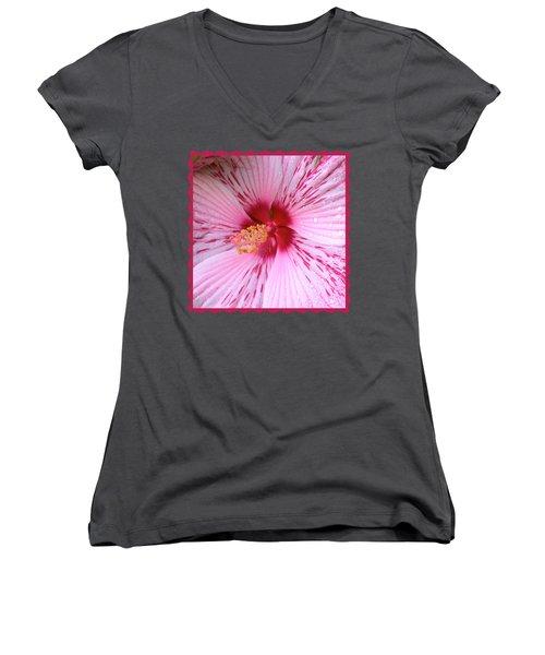 Pink Hibiscus Macro Women's V-Neck