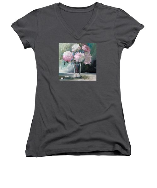 Pink Peonies Women's V-Neck (Athletic Fit)