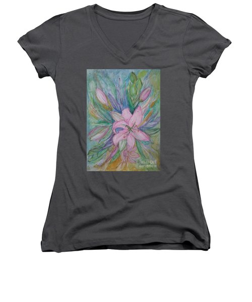 Pink Lily- Painting Women's V-Neck T-Shirt (Junior Cut) by Veronica Rickard