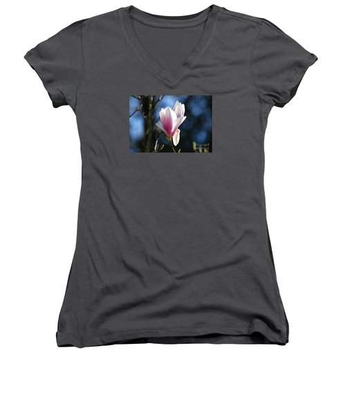 Women's V-Neck T-Shirt (Junior Cut) featuring the photograph Pink Magnolia 20120402_129a by Tina Hopkins