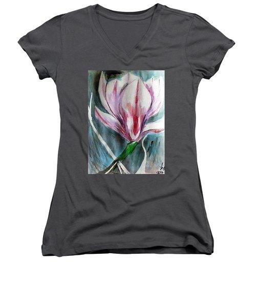 Pink Magnolia Women's V-Neck T-Shirt