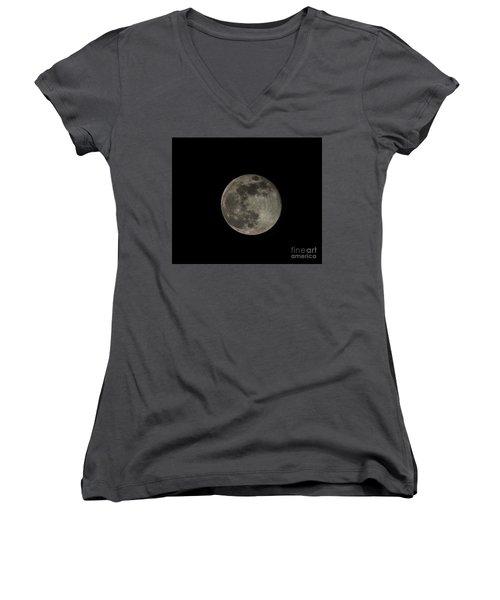 Women's V-Neck T-Shirt (Junior Cut) featuring the photograph Pink Moon by David Bearden