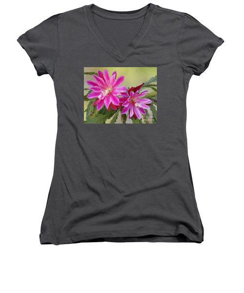 Pink Epiphyllum Lily Women's V-Neck T-Shirt (Junior Cut) by Myrna Bradshaw