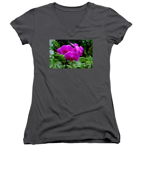 Pink Orchids Women's V-Neck T-Shirt (Junior Cut) by Mini Arora