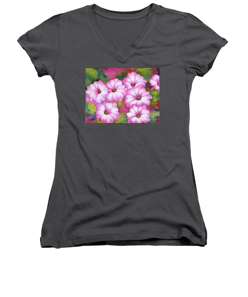 Pink Petunias Women's V-Neck (Athletic Fit)