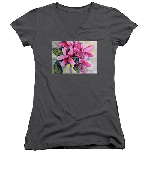 Pink Plumeria Flowers Women's V-Neck