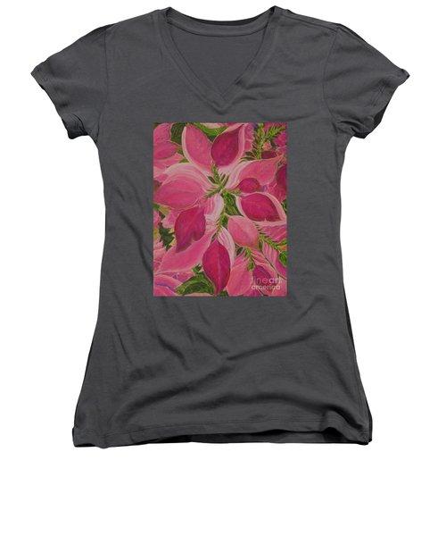 Pink Poinsettia Women's V-Neck