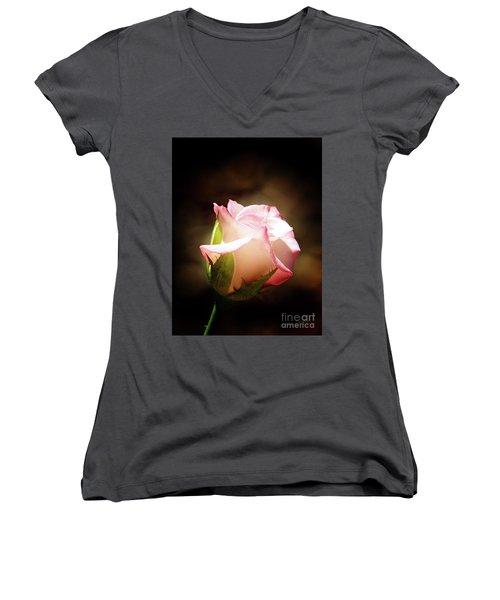Pink Rose 2 Women's V-Neck T-Shirt