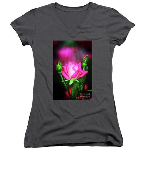 Pink Rose Women's V-Neck T-Shirt (Junior Cut) by Inspirational Photo Creations Audrey Woods