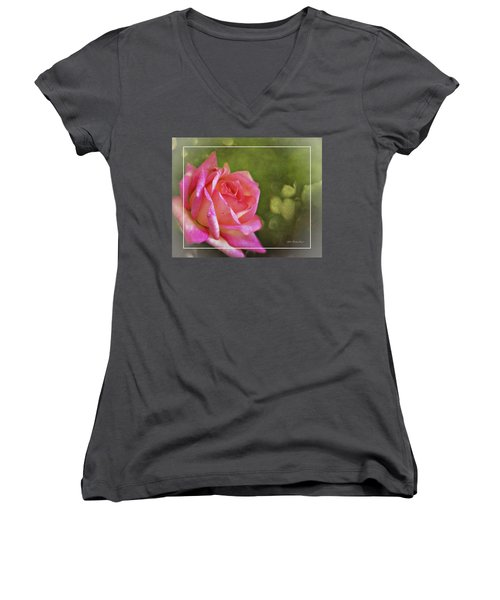 Pink Rose Dream Digital Art 3 Women's V-Neck T-Shirt