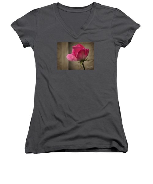 Women's V-Neck T-Shirt (Junior Cut) featuring the photograph Pink Rose by Inge Riis McDonald
