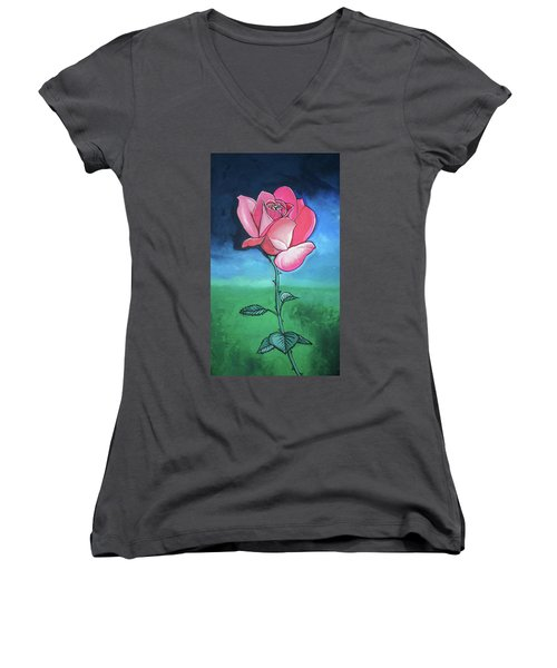 Women's V-Neck T-Shirt (Junior Cut) featuring the painting Pink Rose by Mary Ellen Frazee