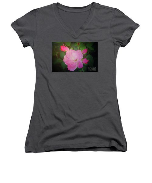 Pink Roses  Women's V-Neck T-Shirt (Junior Cut) by Inspirational Photo Creations Audrey Woods