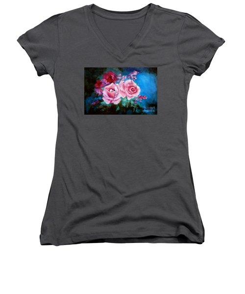 Pink Roses On Blue Women's V-Neck T-Shirt (Junior Cut) by Jenny Lee