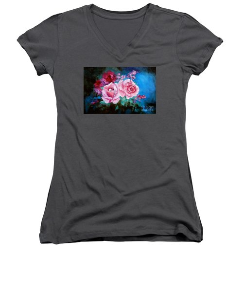 Pink Roses On Blue Women's V-Neck T-Shirt (Junior Cut)