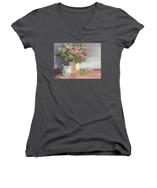 Women's V-Neck T-Shirt (Junior Cut) featuring the painting Pink Roses by Vikki Bouffard