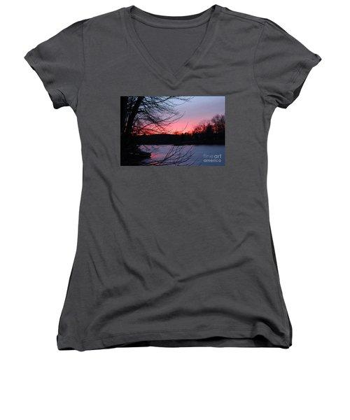 Pink Sky At Night Women's V-Neck T-Shirt (Junior Cut) by Jason Nicholas
