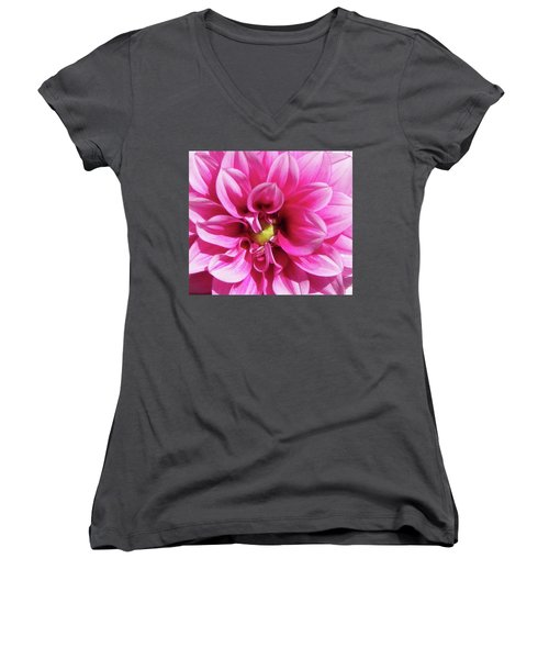 Pink Summer Flower Macro Women's V-Neck (Athletic Fit)