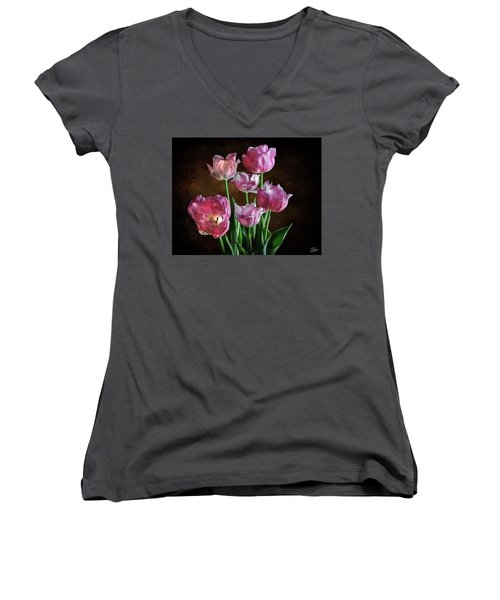 Pink Tulips Women's V-Neck (Athletic Fit)