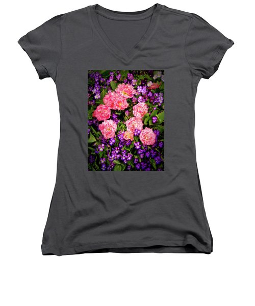 Women's V-Neck T-Shirt (Junior Cut) featuring the photograph Pink Tulips With Purple Flowers by James Steele