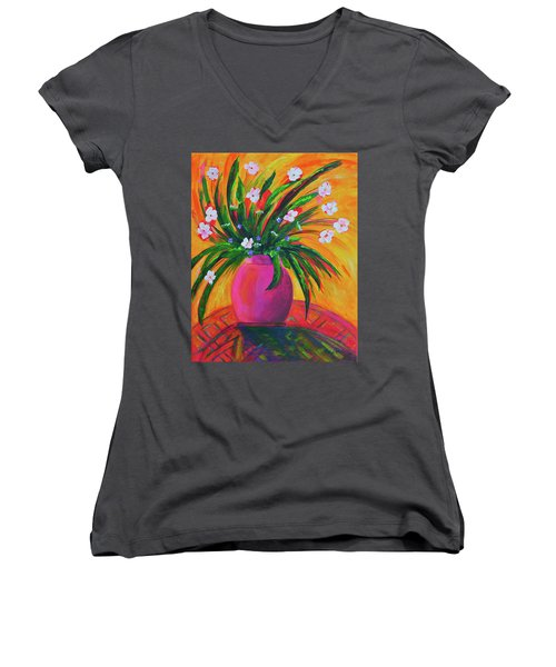 Pink Vase In Warm Afternoon Women's V-Neck T-Shirt