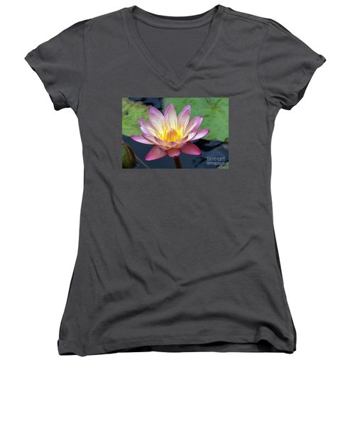 Pink Water Lily Women's V-Neck T-Shirt (Junior Cut)
