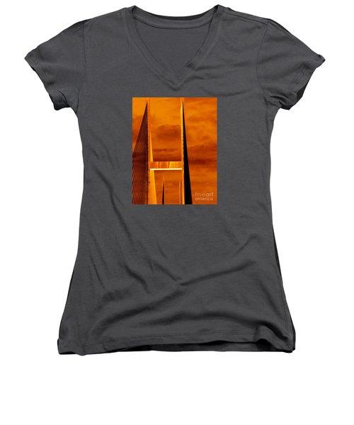 Pinnacle Women's V-Neck T-Shirt (Junior Cut) by Cathy Dee Janes