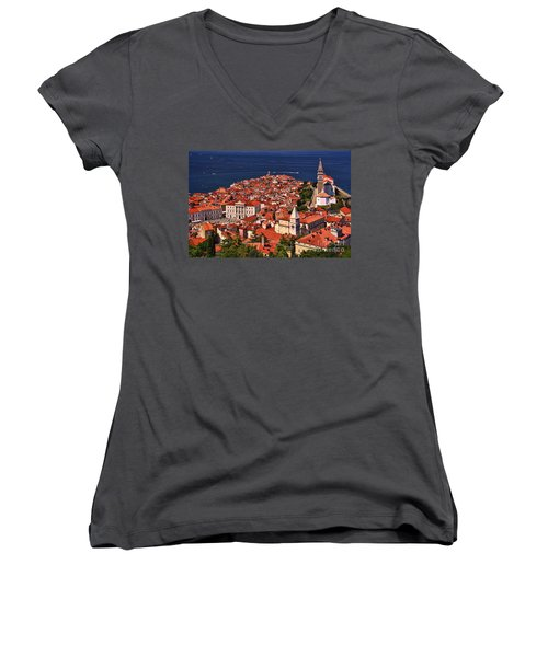 Piran From The Castle Wall Women's V-Neck T-Shirt (Junior Cut) by Graham Hawcroft pixsellpix
