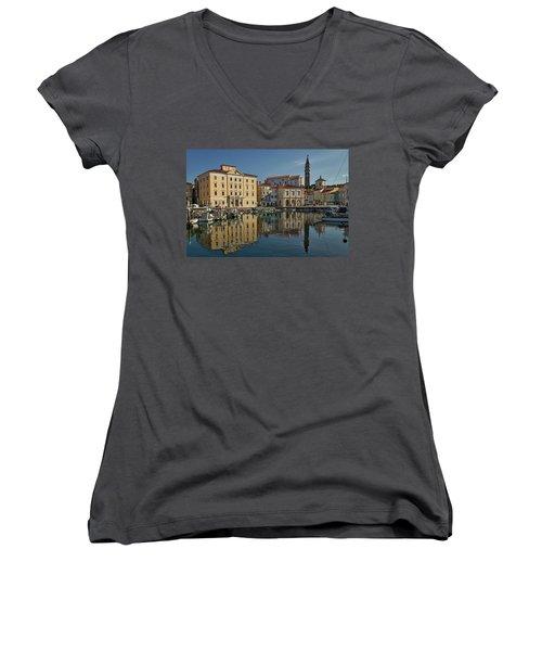 Women's V-Neck T-Shirt featuring the photograph Piran Marina Reflections #2 by Stuart Litoff