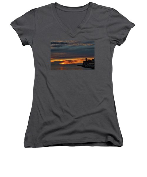 Women's V-Neck T-Shirt featuring the photograph Piran Slovenia Sunset #2 by Stuart Litoff
