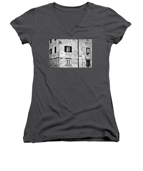 Women's V-Neck T-Shirt featuring the photograph Piran Windows - Slovenia by Stuart Litoff