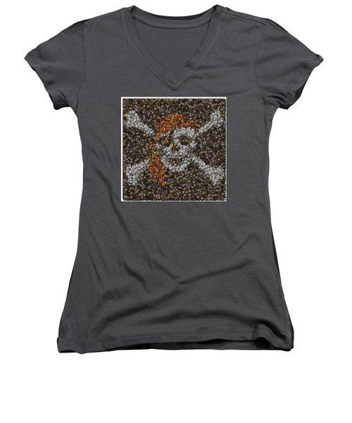 Women's V-Neck T-Shirt (Junior Cut) featuring the digital art Pirate Coins Mosaic by Paul Van Scott