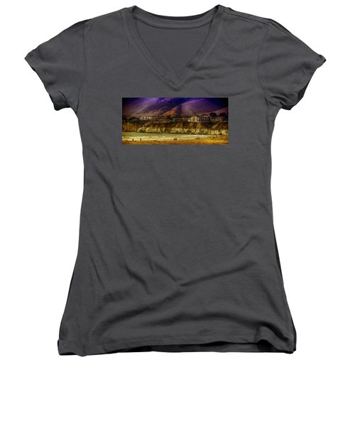 Women's V-Neck T-Shirt (Junior Cut) featuring the photograph Pismo Beach Cove by Joseph Hollingsworth