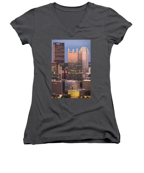 Pittsburgh 19  Women's V-Neck T-Shirt (Junior Cut) by Emmanuel Panagiotakis