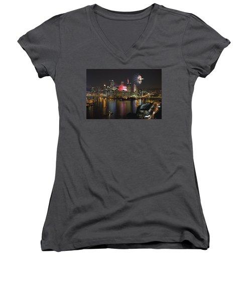 Pittsburgh 3 Women's V-Neck T-Shirt (Junior Cut) by Emmanuel Panagiotakis