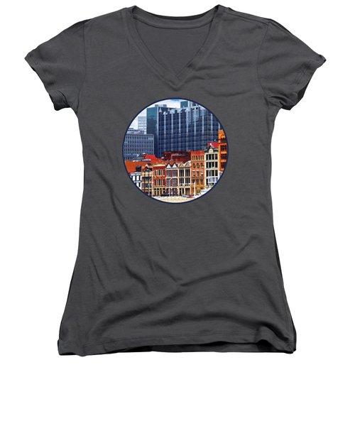 Pittsburgh Pa Skyline Closeup Women's V-Neck T-Shirt (Junior Cut) by Susan Savad