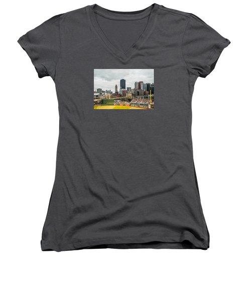 Pittsburgh/pnc Park - 6986 Women's V-Neck T-Shirt (Junior Cut) by G L Sarti