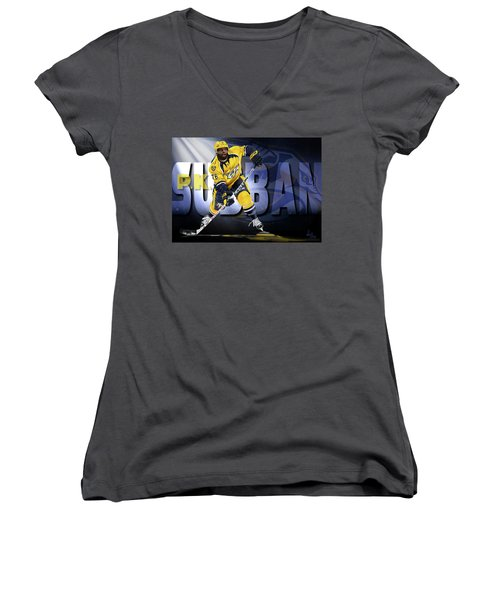Women's V-Neck T-Shirt (Junior Cut) featuring the photograph Pk Subban by Don Olea