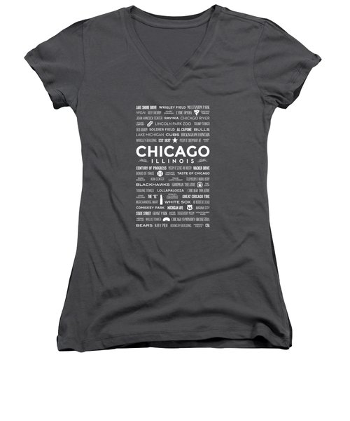 Places Of Chicago On Blue Chalkboard Women's V-Neck T-Shirt (Junior Cut) by Christopher Arndt