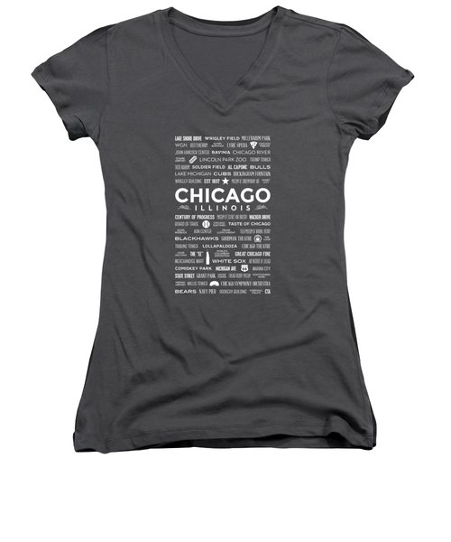 Places Of Chicago On Red Chalkboard Women's V-Neck T-Shirt (Junior Cut) by Christopher Arndt